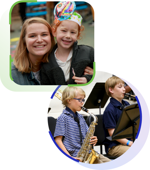 kids smiling with teacher and playing saxophone